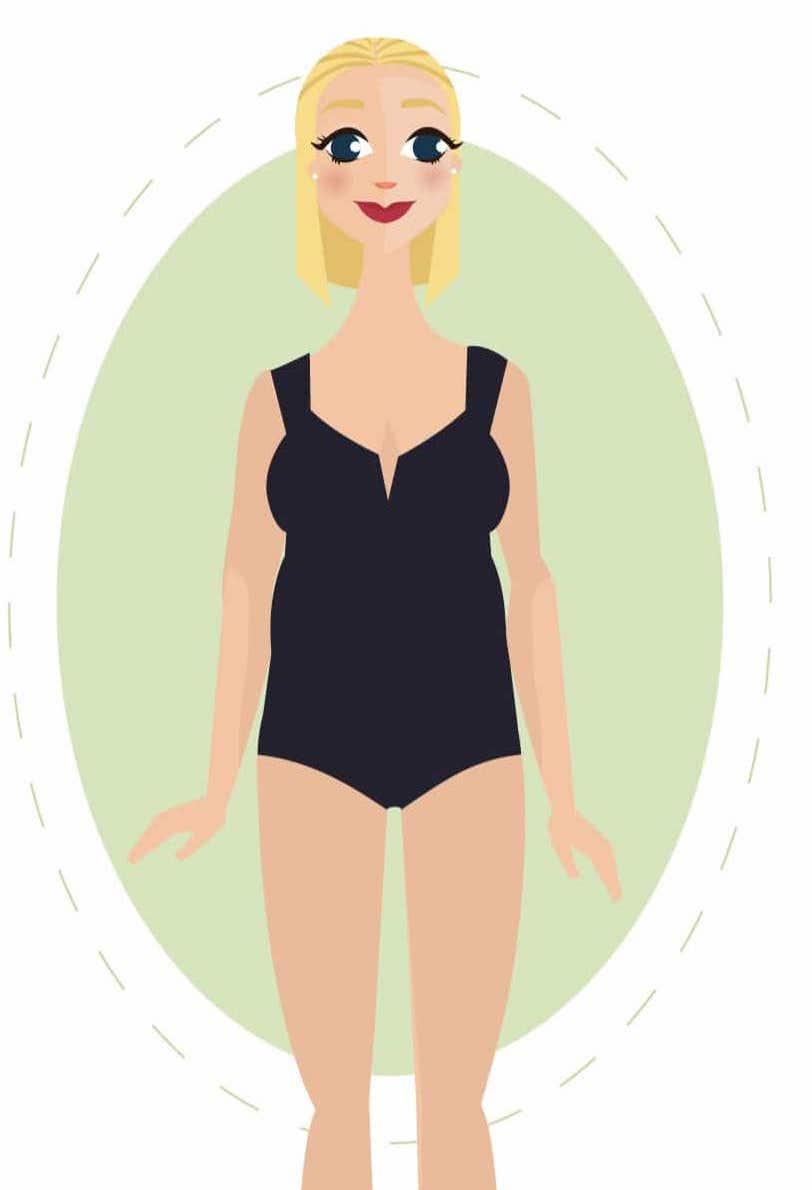 Frau mit Gewicht an der Taille- der Apfel Körperbau