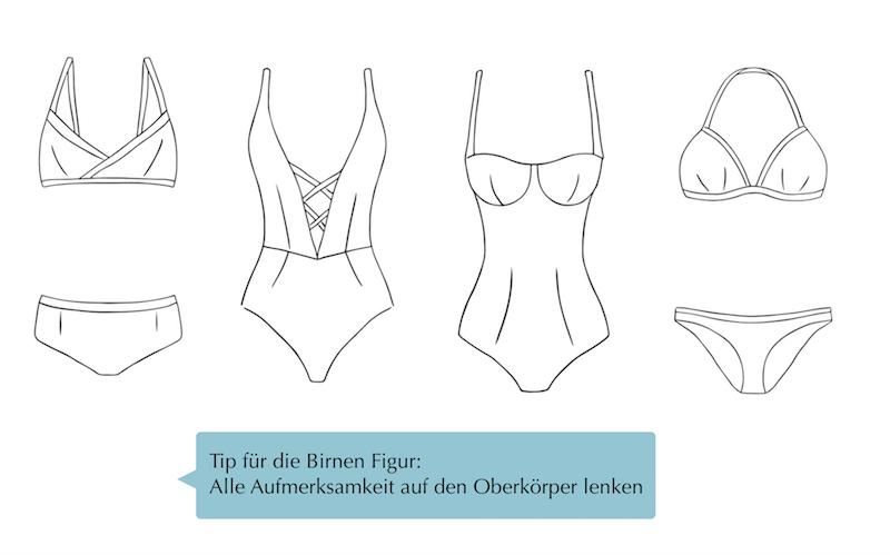 4 Skizzen von Bikinis für breitere Hüfte