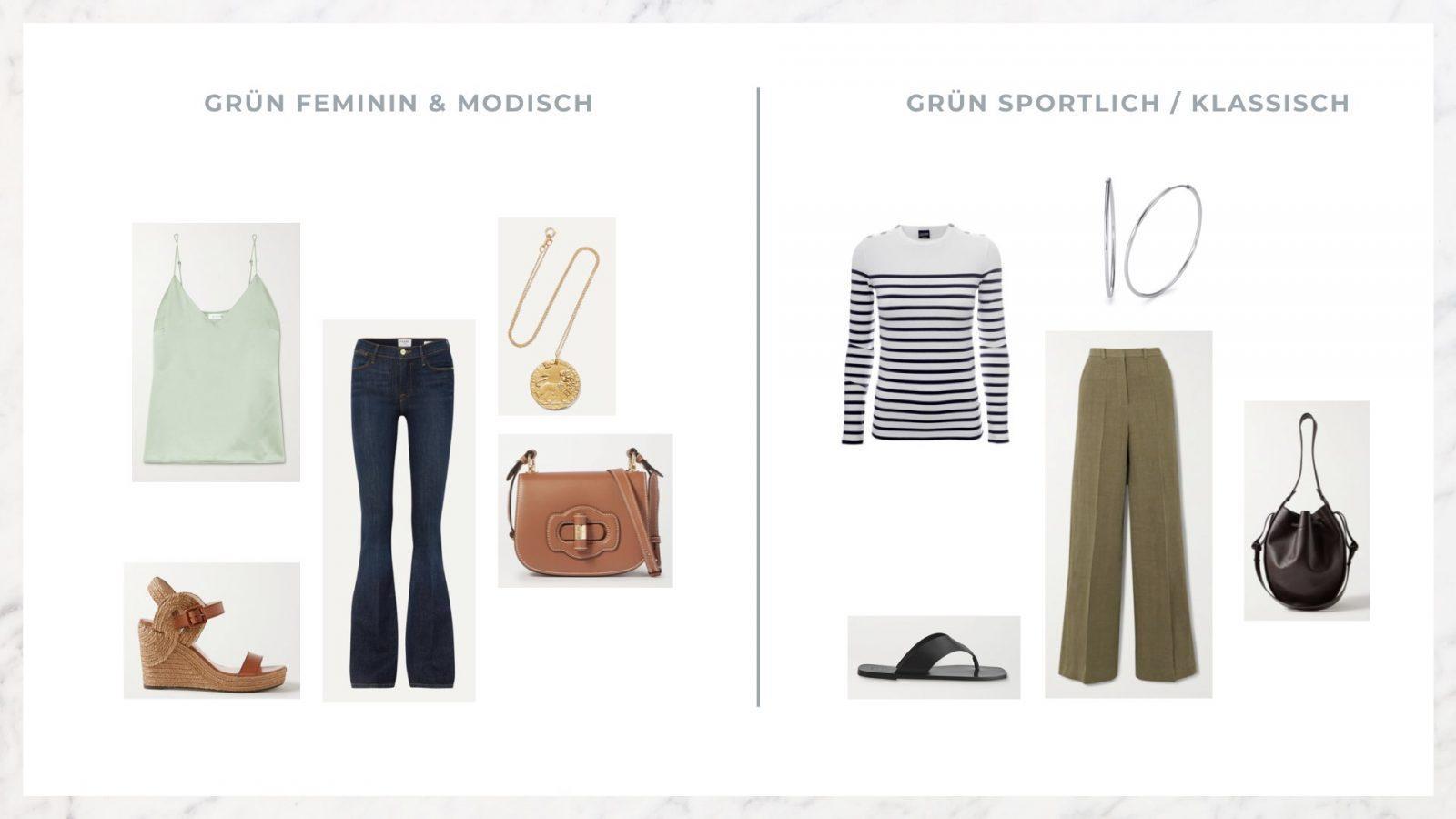 grünes Top mit Jeans und Sandalen
