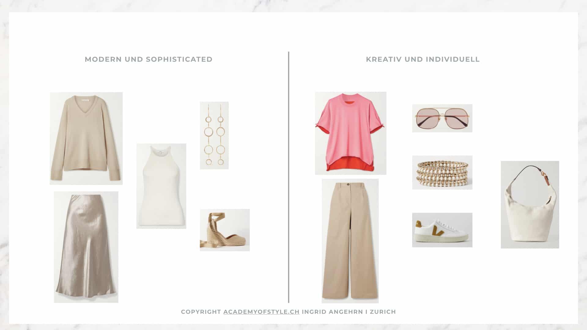 Kleidungsstücke in beige und pink kombinieren